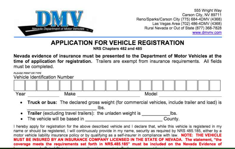 Driving without registration in Las Vegas, Nevada